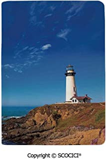 SCOCICI Leather Passport Cover Luxury Pigeon Point Lighthouse in Cabrillo Hwy Coastal Highway State Route 1 Travel Document Organizer