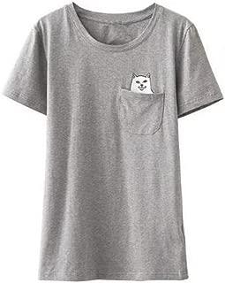 JESRKAS Alien Middle Finger Cat Pocket T Shirt Women Ulzzang Kyliejenner Instagram Tumblr Vegan Unicornio BTS Kpop Tee Top