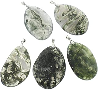 1pc Green Milky Crystal Platinum Silver Oval Freeform Moss Agate Large Natural Gemstone Flat Focal Pendants W Bail 55mm x 65mm Hole 5mm