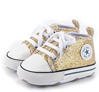 Momlifee Unisex Baby Boys Girls High Top Sneaker Soft Anti-Slip Sole Newborn Infant First Walkers Canvas Denim Shoes