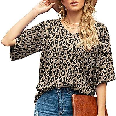 Damen Kurzarm T-Shirt Leopard