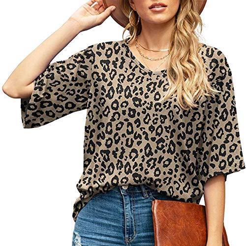 Damen Kurzarm T-Shirt Leopard Aufdruck Sommer V-Neck Oberteile Freizeit Lockere Retro Tshirts Top Frauen Bluse Tunika Teenager Mädchen Rundhals Casual Kurzarm Shirts Frauen Blusen Lässig T-Shirt