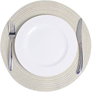 NEXCURIO Round Placemats for Dining Table 14 inch Heat Resistant Wipeable Placemat Washable Kitchen Table Mats for Home We...