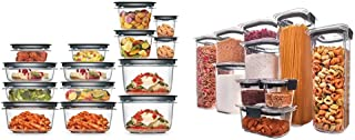 Rubbermaid Meal Prep Premier Food Storage Container, 28 Piece Set, Grey & Brilliance Pantry Organization & Food Storage Co...