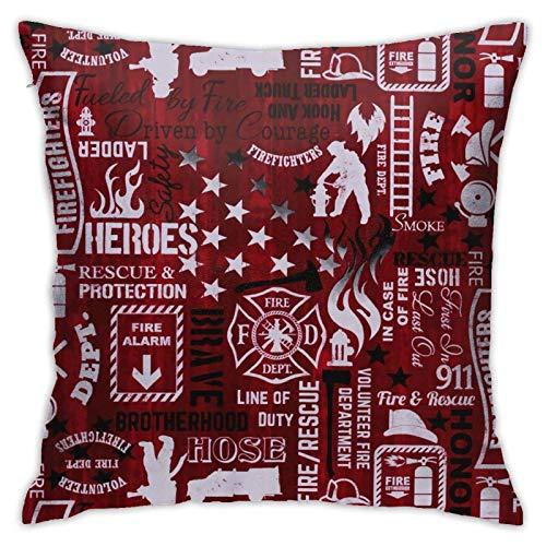 WH-CLA Cushion Cover Patrón De Bombero Rojo Fundas De Almohada para Sofá Decoración para El Hogar Fundas De Almohada Oficina Funda De Cojín Suave Y Duradera Fundas para Cama 45X45Cm Apar