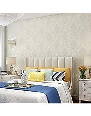 H&M Papel pintado autoadhesivo más grueso Estilo de Damasco lujo 3D relevación no tejido decoración sala de estar restaurante TV pared dormitorio papel pintado -53 cm (W) * 3m (L)