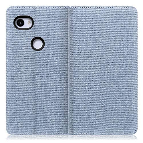 LOOF Denim Google Pixel 3a XL ケース 手帳型 カバー スマホケース デニム生地 横入れ カード収納付 スタンド機能付 パス入れ 手帳型ケース 手帳型カバー ベルトなし おしゃれ シンプル ブランド (ライトブルー)