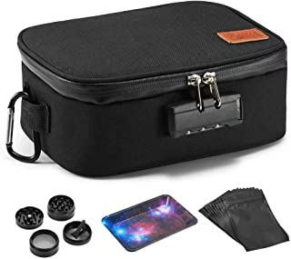 Egooz Smell Proof Case - Carbon Lining Smell Proof Bags with Combination Lock, Smell Proof Container for Herbs and Smelly Products, (Come with Grinder+Metal Plate+10 Resealable Mylar Bags),Black