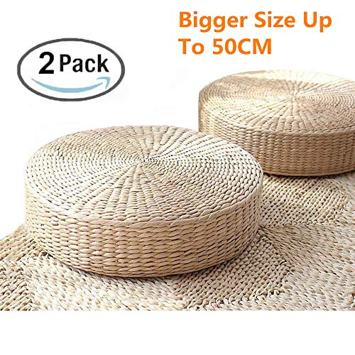 DUOSHIDA Tatami Floor Pillow Sitting Cushion,Round Padded Room Floor Straw Mat for Outdoor Seat(2 Pack 19.7x4.3)
