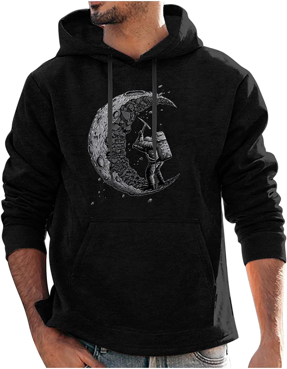 Bravetoshop Men's Hoodie Novelty Graphic Hooded SweatShirt Street Fashion Long Sleeve Pullover Tops with Pocket