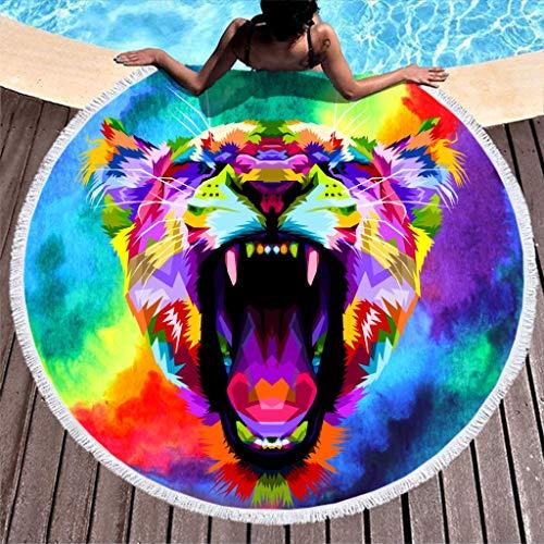 Paradieseinkauf - Telo da spiaggia a forma di tigre arcobaleno, rotondo, da picnic, da donna, per bambini, fitness e sport, ad asciugatura rapida, senza sabbia, con frange, Poliestere, bianco, 150cm