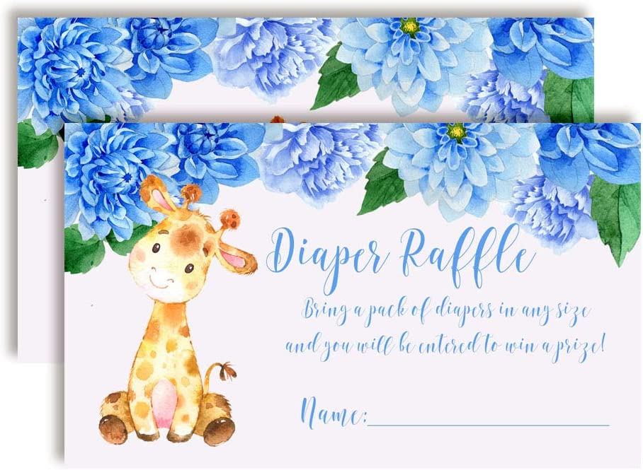 Watercolor Dahlia Floral Giraffe-Themed Diaper Raffle Tickets for Boy Baby Showers, 20 2