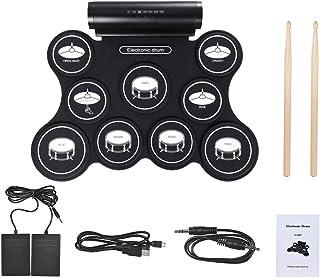 ポータブルプロフェッショ折りたたみ電子ドラム 内蔵ダブルスピーカー出力USB MIDIロールアップ電子ドラムセット練習ドラムキット(9個のシリコンパッド付き) ヘッドフォンジャックサスティンペダルドラムスティック録音再生機能ギフト子供のための ドラムサウンドはあなたに自然で強力なサウンドを与えます。 標準的なドラム設定とワイドペダル