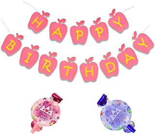 Happy Birthday Banner (Pink Gold), Kids' Birthday Party Sign, Noise makers Birthday Party for Boys and Girls
