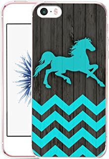 Case for iPhone SE Horse - CCLOT Flexible Cover Protector Compatible for iPhone 5/5S/SE Creative Artist Artwork Design Horse Wonderful Blue Animal (TPU Protective Silicone Bumper Skin)