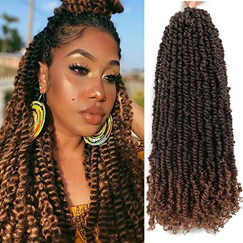 6 Packs Pre-twisted Passion Twist Hair 24 inch Passion Twist Crochet Hair Pre Looped 16 Strands Bohemian Braids For Passion Twist Synthetic Braiding Hair Extensions (24 inch, T1B/30#)