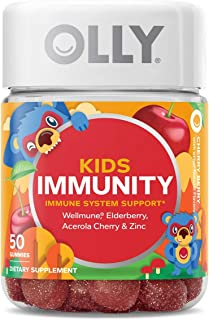 Olly Kids Immunity Gummy, Wellmune, Elderberry, Acerola Cherries, Zinc, Chewable Supplement, Cherry Berry Flavor, 25 Day S...