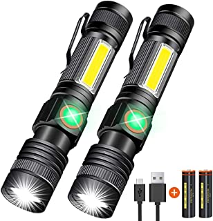 Hoxida USB Rechargeable Flashlight (Battery Included), Magnetic LED Flashlight, Super Bright LED Tactical Flashlight with ...