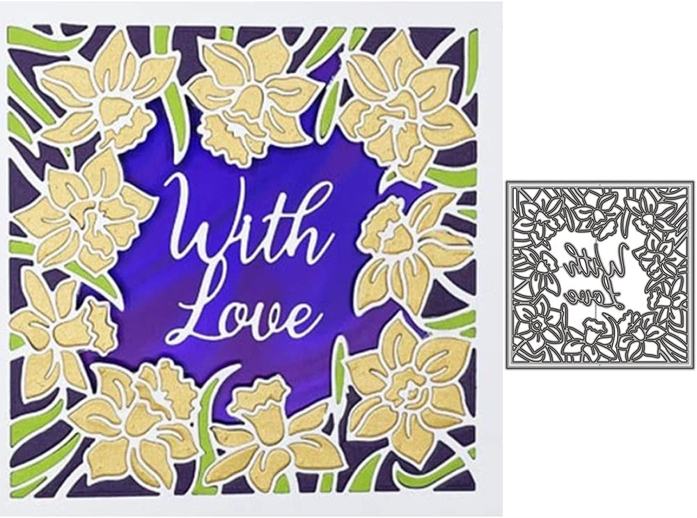 Daffodil with Indefinitely Love Background Die Set Cuts Limited time trial price Cutting Frame Design