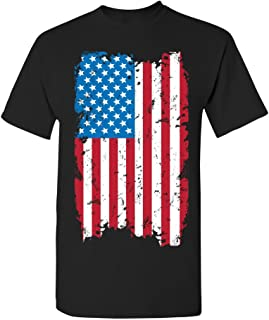 Manateez Unisex USA Tattered American Flag Tee Shirt