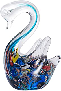LONGWIN Hand Blown Art Glass Sculpture Glass Swan Animal Figurine Tabletop Centerpiece Ornament