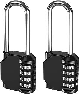 KeeKit 4 Digit Combination Lock, 2.6 Inch Long Shackle Resettable Padlock, Outdoor Waterproof Gate Lock for School, Employee, Gym & Sports Locker, Case, Toolbox, Fence - 2 Pack, Black