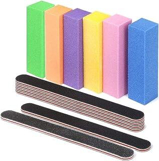 Limas y limas para uñas, limas profesionales 100/180 Grit Placas de esmeril de doble cara lavables 6 piezas y tampón Lijado de bloques Limas Nail Art Manicure Tools 6 piezas (12 piezas en total)