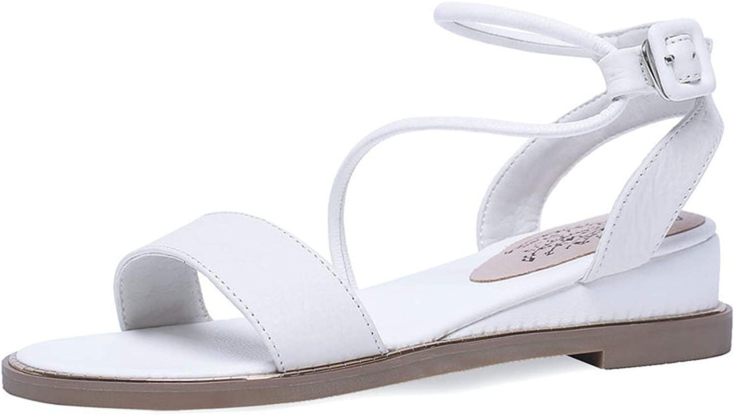 Women Sandals Cow Leather+Pu Round Open-Toed Flat Heel Slingback Buckle Casual shoes