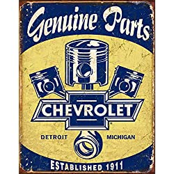 Desperate Enterprises Chevrolet Genuine Parts - Pistons Tin Sign, 12.5 W x 16 H
