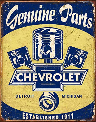 Chevrolet - Chevy Genuine Parts Pistons Tin Sign 13 x 16in