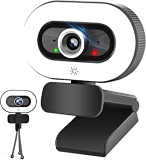 Webcam HD 2K Web Camera with Ring Light, PPUSIN Built-in Microphone Streaming Computer Camera, USB PC Cam with Tripod, Adj...