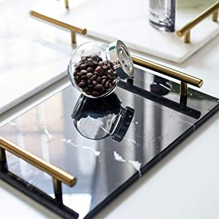 LAMAC CRAFTS - marble stone serving tray/Vanity tray with golden handles (Black)