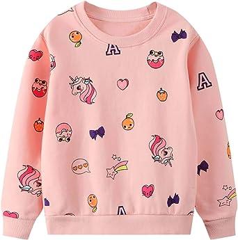 JinBei Niña Camiseta Ropa Manga Larga Sudadera Cuello Redondo Jersey Impresión de Unicornio Pull-Over con Algodón Casual Top 2 3 4 5 6 7 años