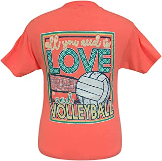 Girlie Girls All You Need is Love and Volleyball Short Sleeve T-Shirt