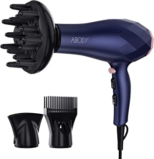 Abody 1875W Professional Hair Dryer, Negative Ion Blow Dryer 2 Speed and 3 Heat Setting, Quick Dry Light Weight Low Noise ...