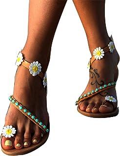 XINSTAR Sandales tendance pour femme, sandales à talons plats à bout ouvert, chaussures de plage