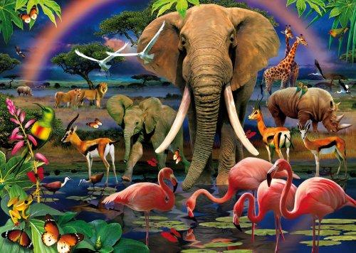 Clementoni - 39187.5 - Puzzle Magic 3D + lunette - African Savannah - 1000 pieces