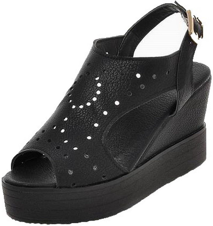 AmoonyFashion Women's Pu Solid Buckle Open-Toe High-Heels Sandals, BUTLT007025