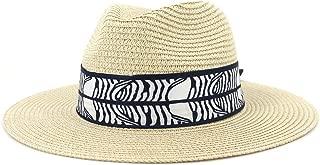 Outdoor Bucket Sun Hat Women's Summer Fashion Wide Brim Straw Sun Hat Fedora Hat Double Color Satin Bandwidth Panama Hat (Color : Khaki, Size : 56-58CM)