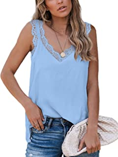 Aokosor Womens V Neck Lace Tank Tops Summer Casual Loose Sleeveless Shirts Side Split