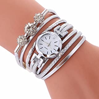 Ladies Watch Bracelet,Fashion Circle Wrap Around Wristwatch Diamond Student Clock Axchongery