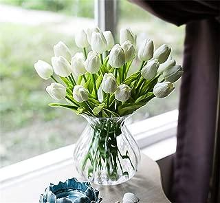Moca Tulip Artificial Flower Latex Real Touch Bridal Wedding Bouquet Home Decor Artificial Flowers Bouquet hot Sale (White, 10pcs)