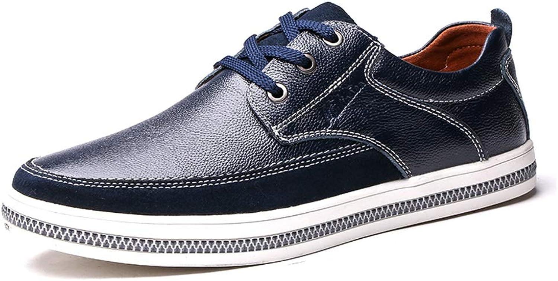 LXLA- Chaussures en Cuir Confortables à Lacets pour Hommes, Mocassins à Tête Ronde pour Hommes (Couleur   Bleu, Taille   40)