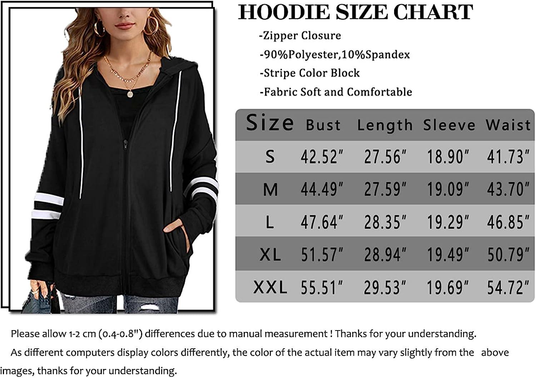 Hoodies for Women Casual Oversized Zip Up Soft Fall Long Sleeve Sweatshirts