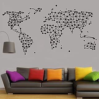 WSYYW New Geometric Map World Map Vinyl Wall Stickers Living Room Office Decoration Bedroom Decoration Wallpaper PVC Wall Stickers Wall Stickers Home Gardening Living Room Fashion Dark Gray 79x42cm