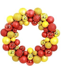 Luckyld Guirlande De Noël, Porte Guirlande Déco Guirlande, Guirlande Boules De Sapin De Noël, Diamètre 35cm, sur 55 Boules De Noël, Thème De Noël Or Rouge