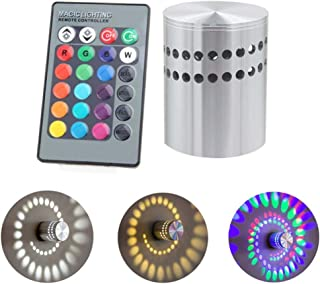 Rambling RGB Spiral LED Wall Light Ceiling Lamp 3W Wireless Remote Control Hole Surface Install Dimmable Light Luminaire Lighting,360 Degrees Beam Angle,Great for Party,Bars,Hotel
