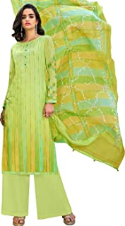 Jinaam Dresses Charming Green Casual Wear Straight Cut Style Suit