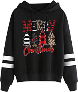 Womens Casual Christmas Printed Striped Shoulder Hoodies...