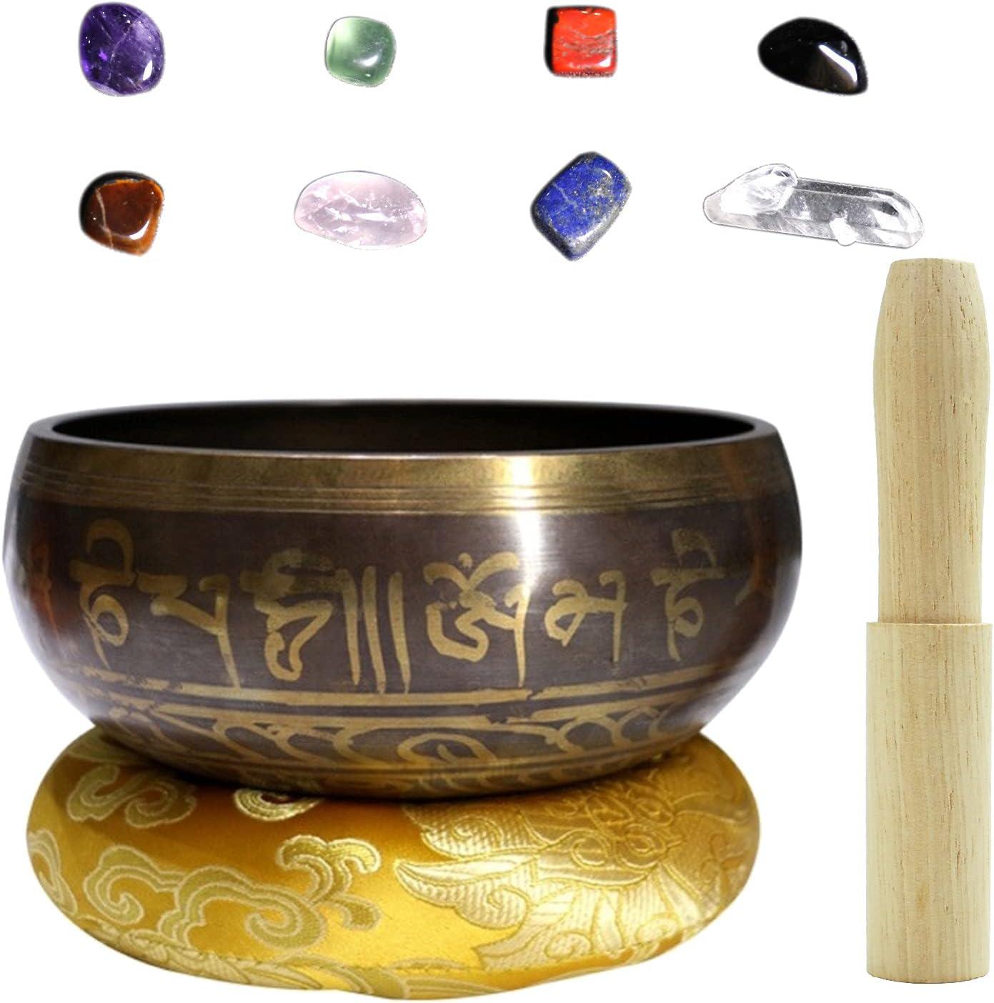 Tazón de Cantar Tibetano, 10.5cm Juego de Cuenco Tibetano a Mano con Mazo, Piedras de Cristal y Cojín de Seda, Cuencos Tibetanos para Meditación para Relajación, Sanación, Meditación